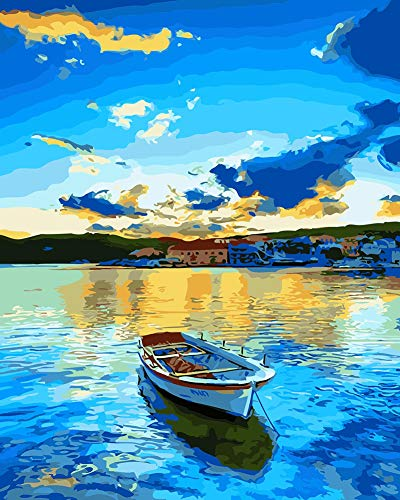 WONZOM Malen nach Zahlen DIY Acrylfarben Gemälde Kit für Erwachsene & Kinder Anfänger - 16x20 Zoll Blauer See und Boot mit 3 Pinseln & leuchtenden Farben Ohne Rahmen