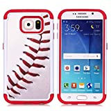 Galaxy S6 Case, S6 Case, Baseball Sports Pattern Shock-Absorption Hard PC and Inner Silicone Hybrid Dual Layer Armor Defender Protective Case Cover for Samsung Galaxy S6