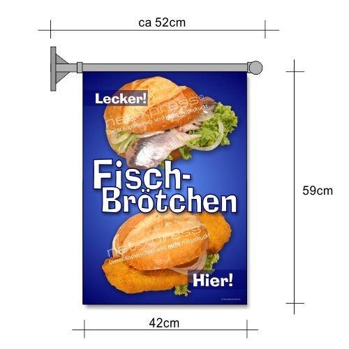 net-xpress Fischbrötchen-Fahne A2 Flagge Fisch belegte Brötchen Imbiss Snack Werbung