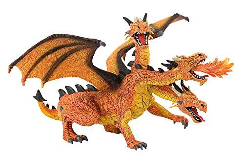 Bullyland 75548 - Spielfigur, Drachen mit 3 Köpfen orange, ca. 20 cm groß, liebevoll handbemalte Figur, PVC-frei, tolles Geschenk für Jungen und Mädchen zum fantasievollen Spielen