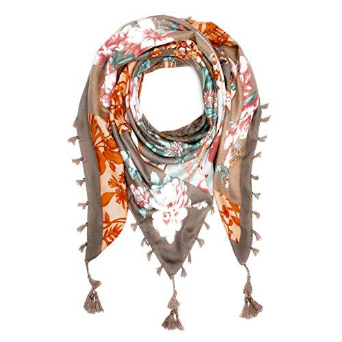 Autiga Damen Schal mit Fransen Blumen Blümchen Dreieckstuch Halstuch quadratisch Patchwork-Look braun