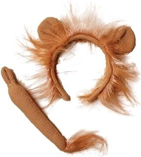 Diadema con orejas y cola de león de Alice, juego de lujo para fiesta de disfraces