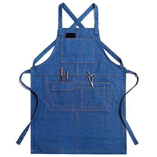Schürze Für Damen Mann Mit Taschen, Koch, Kellner, Künstler, Arbeitsschürzen Für Grill Küche Restaurant Bar Shop Schürze,Blau