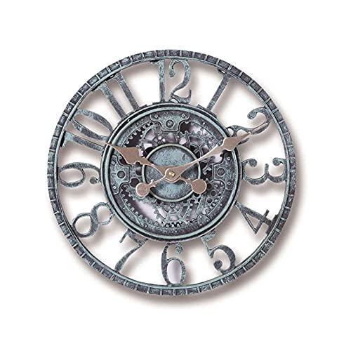 XBYUNDING Reloj de pared al aire libre resistente a la intemperie,12 pulgadas Adornos al aire libre en el jardín,decoración de la creatividad de estilo nórdico retro de 12 pulgadas,para paredes al air