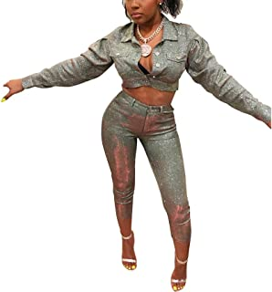 066d8ec7002 Ophestin Women 2 Piece Outfits Sparkly Silver Long Sleeve Jacket Skinny  Cropped Pants Set
