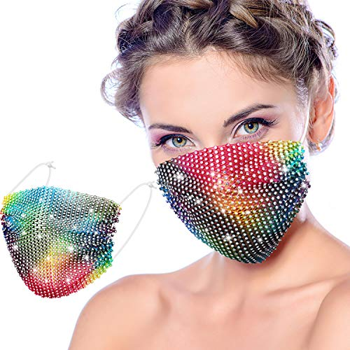 Bling Rhinestone Mask Chain Crystal Metal Masquerade Masks Ball Party Nightclub Face Necklace Venetian Mardi Gras Jewelry for Women and Girls (Rainbow)