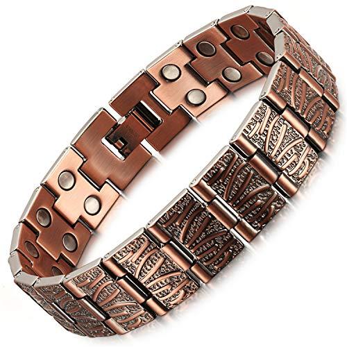 Armbanden 99,95% puur koper dubbele rij magnetische mannen handgemaakte armbanden met 36 of 40 krachtige magneten, 3500 gauss - effectieve en natuurlijke verlichting voor pijn in de gewrichten en artritis