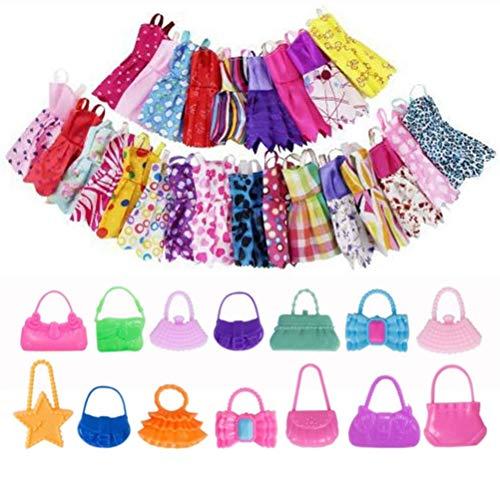 Hinder 20 accesorios de ropa para 10 vestidos de moda casual ropa vestidos de fiesta trajes +10 bolsos de muñeca muñeca al azar Stlye