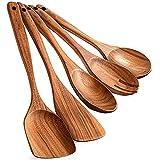 Ganata Utensilios de cocina de madera para cocinar, utensilios de madera para cocinar, juego de 5 utensilios de cocina