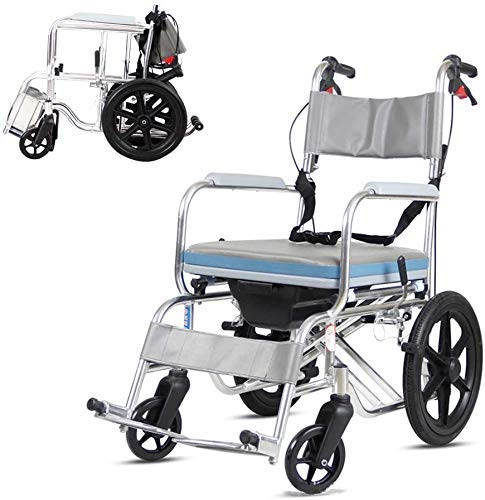 Z-SEAT Transporte médico Silla para Ducha de baño, Cinturón de Seguridad Ajustable para Mano Silla de Ruedas de la cómoda del retrete del Freno, Silla Mayor de la cómoda de