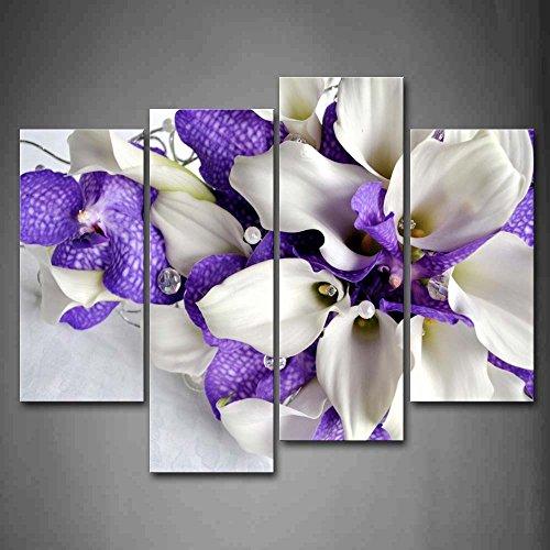 First Wall Art - Flore Cuadros en Lienzo Un Ramo de Flores Púrpuras y Blancas Decoracion de Pared 4 Piezas Modernos Planta Mural Fotos para Salon,Dormitorio,Comedor