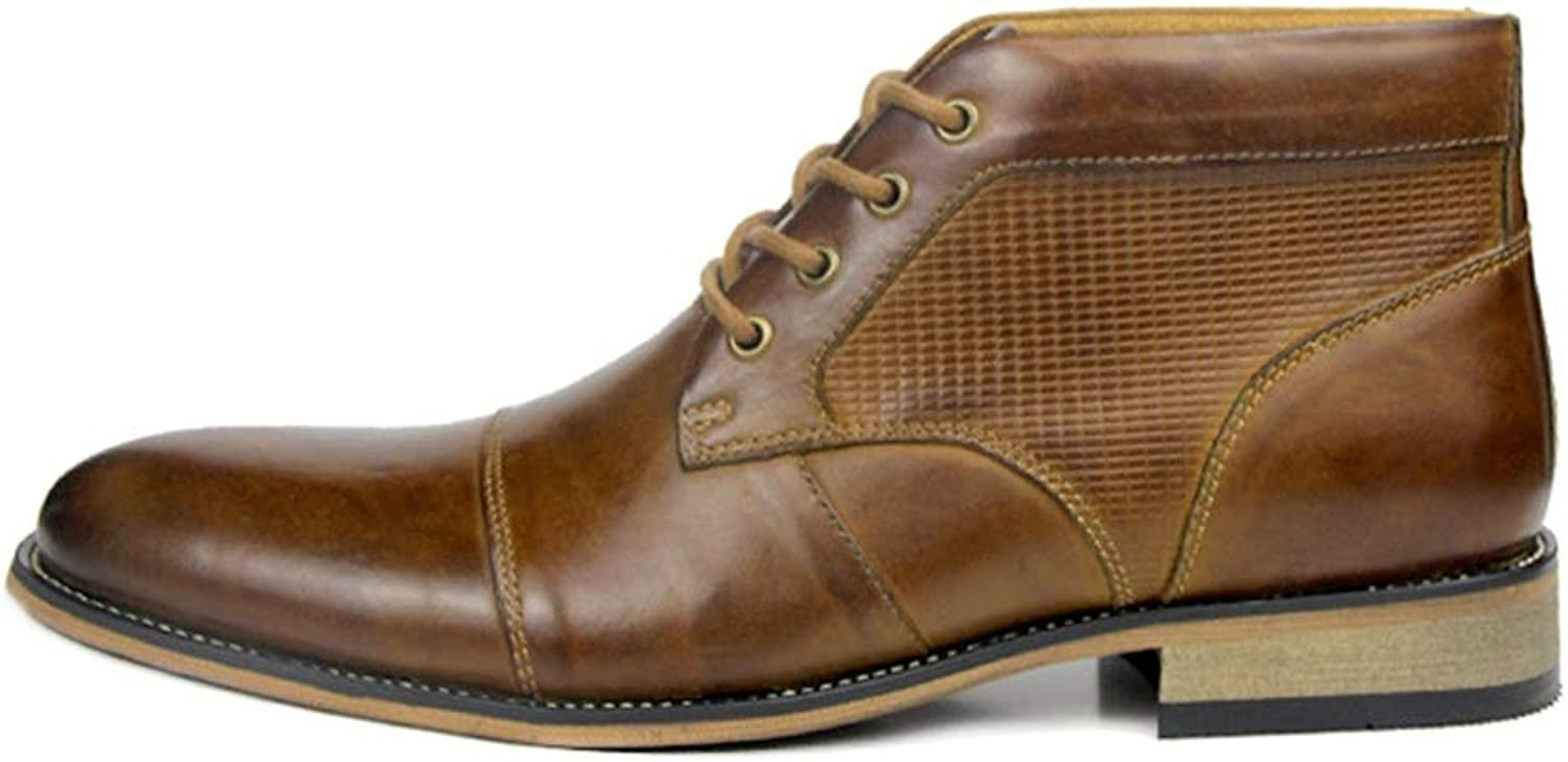 ZHRUI Fashion Chukka Boots for Men Genuine Leather Comfort Breathable Durable Boots (color   Brown, Size   UK 10.5)