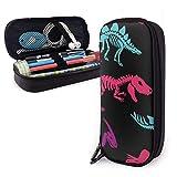 Colorido dinosaurios esqueletos fósiles patrón PU cuero caja de lápices bolsa de bolígrafo, alta capacidad doble cremallera pluma caja caja bolsa de maquillaje bolsa de monedas