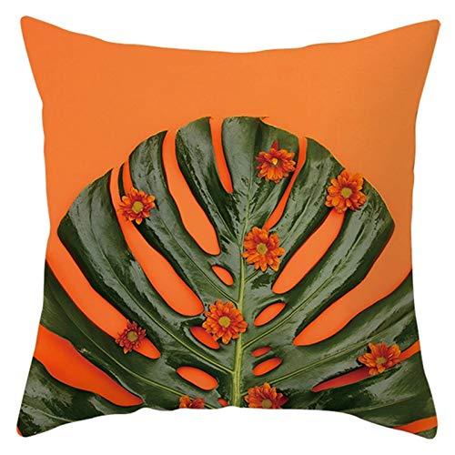 KnBoB Funda de Almohada Naranja Verde Patrón de Flor de Hoja 40 x 40 cm Poliéster Estilo 16