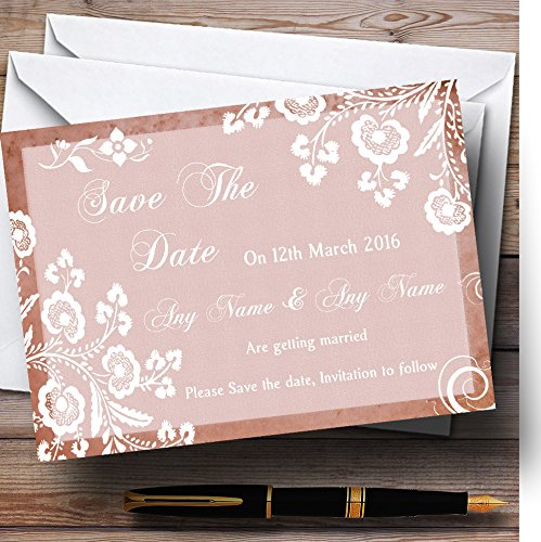 Rustic Blush Lace Personalized Wedding Save The Date Cards