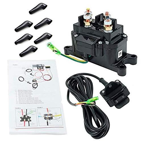12V Solenoid Relay Contactor & Winch Rocker Thumb Switch Combo with Handlebar Control Kit Compatible with ATV UTV 1500lb-5000lb Polaris 800 1000