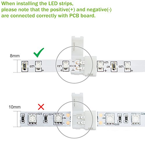 LightingWill 10pcs Pack Strip to Strip Unwired Gapless Solderless Snap Down 2Pin Conductor LED Strip Connector for 8mm Wide 3528 2835 Single Color Flex LED Strips