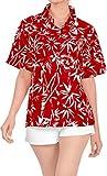 LA LEELA Manga Corta para Mujer del Regalo de la Camisa Ropa de Playa Top de la Blusa encubren con Botones m Damas Blood Rojo_X42