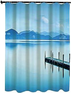 夏 自然の風景 シャワー カーテン 90 x 180cm 木製の桟橋突堤湖の空の反射水に穏やかな静かな夏のビュー印刷 防水 防カビ 浴室 ホテル 高級 遮光 目隠し バス用品 間仕切り カーテンリング付き 取付簡単 水色