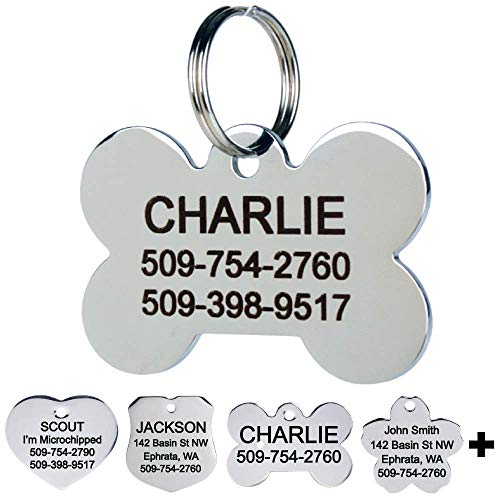 GoTags Pet ID Personalized Dog and Cat Tags. Stainless Steel. Custom Engraved with up to 8 Lines of Text. Front and Backside Engraving. Bone Shape Small.