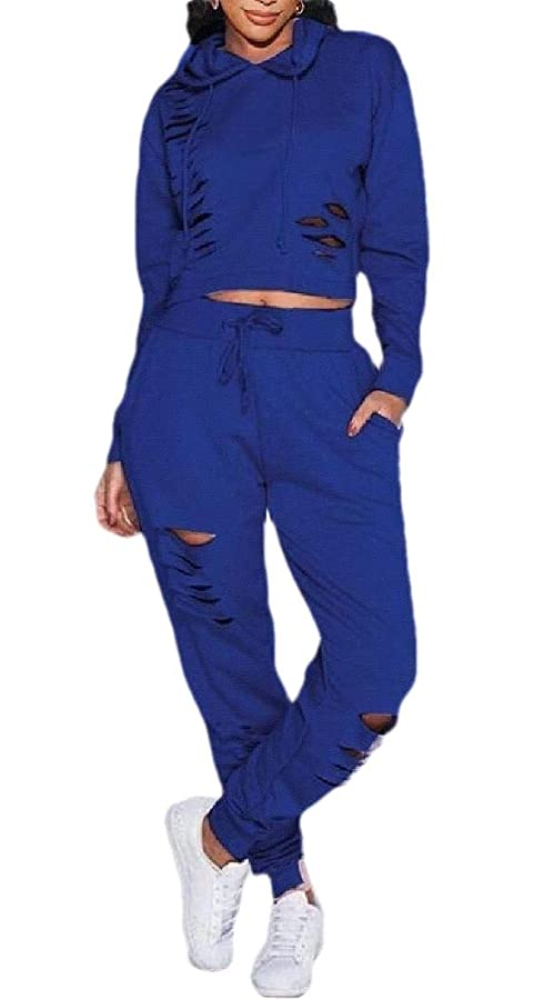 つかの間犯人卒業記念アルバムWomen's Classic Fit 2 Piece Bodycon Sport Jogger Sets Ripped Pullover Hoodie + Long Pants