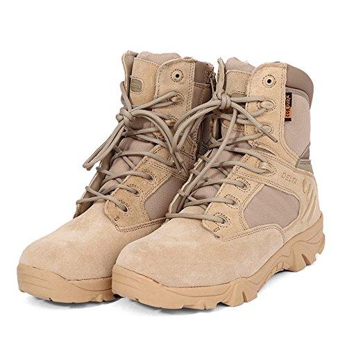 ACHICOO Leder knöchelhohe militärische Taktische Stiefel wasserdichte Wanderschuhe Army Combat Comp Toe Side Zip Work Stiefel für Männer Sand Color 42