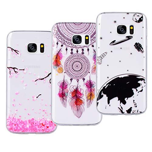 VemMore Kompatibel für Samsung Galaxy S7 Hülle Silikon Transparent Durchsichtig Handyhülle Ultra Dünn Schutzhülle TPU Slim Kratzfest mit Muster [3 Packs] - Universum + Pfirsichblüte + Windspiel