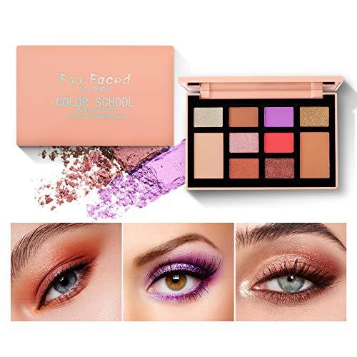 Mimore Eyeshadow Palette Professional 2-Farben-Rouge und 8-Farben-Lidschatten Matte Shimmer Make-up-Palette Hochpigmentiertes buntes Pulver Langlebiger wasserdichter Lidschatten