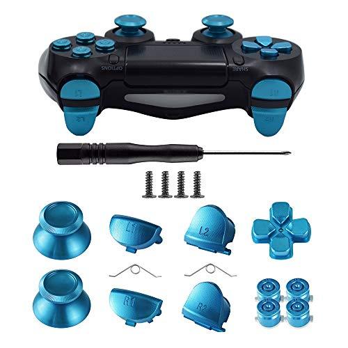 TOMSIN Metal Buttons for DualShock 4, Aluminum Metal Thumbsticks Analog Grip & Bullet Buttons & D-pad & L1 R1 L2 R2 Trigger for PS4 Controller Gen 1
