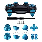 TOMSIN Metal Buttons for PS4 Controller Gen 1, Aluminum Metal Thumbsticks Analog Grip & Bullet Buttons & D-pad & L1 L2 R1 R2 Triggers for DualShock 4 Controller (Blue)