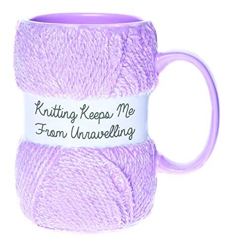'Keeps Me From Unravelling' origineller Strick-Becher   Realistisches Garn/Wolle Design   Lustiges Strick-Geschenk für Sie