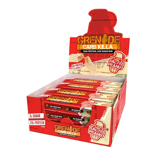 Grenade Carb Killa Barretta Proteica a Basso Contenuto di Carboidrati, White Chocolate Salted Peanut, 12 x 60 g