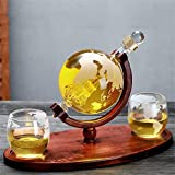 DNGDD Whisky Decanter Globe Set, con 2 Vasos de Whisky con Forma de Globo Grabados, Resistencia al Calor y al frío, Material Resistente, exhibición de Arte Familiar, de Oficina, Restaurante, 850 m
