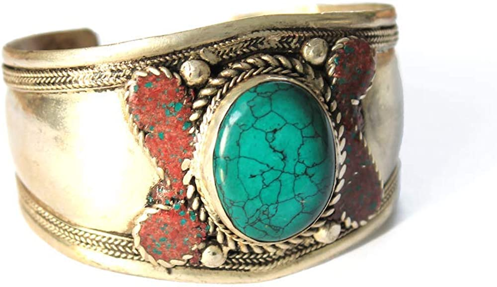 Boho Style Dyed Howlite Alloy Adjustable Cuff Bracelet for Women | Jewelry From Nepal