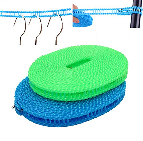 EverSport 2 Pack Clothesline Clothes Drying Rope Portable Travel Clothesline Adjustable for Indoor Outdoor Laundry Clothesline Perfect Windproof Clothes Line Hanger for Camping Travel Home Use