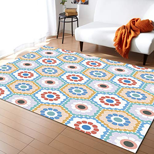 Floral Area Rug for Kids Play Room, Warm Soft Felt Fabric, Large Rug Decoration Rugs Baby Care Crawling Carpet 2'7'' x 5' Cute Flowers Hexagon Geometric Elegant Design