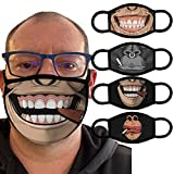 Washable Reusable Face_Mask for Adult, Halloween Printed Face Mouth Cover Breathable Full Protection Elastic Ear Loop Facemask for Outdoor Working School Skull Pattern Face Scarf (4 Pack&Orangutan)