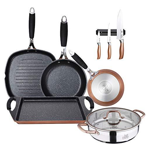 Bergner Colección Infinity Chefs: Cacerola Ø28 con Tapa de Vidrio Ø16 y Ø24 sartén 28x28 y Plancha Grill 40x24 cms + Juego de Cuchillos, Aluminio Forjado