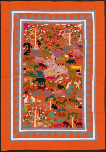 2016 Map Hmong Hand-Stitched Story Cloth maps of Mainland Southeast Asia. - Size: 16x24 - Ready to F