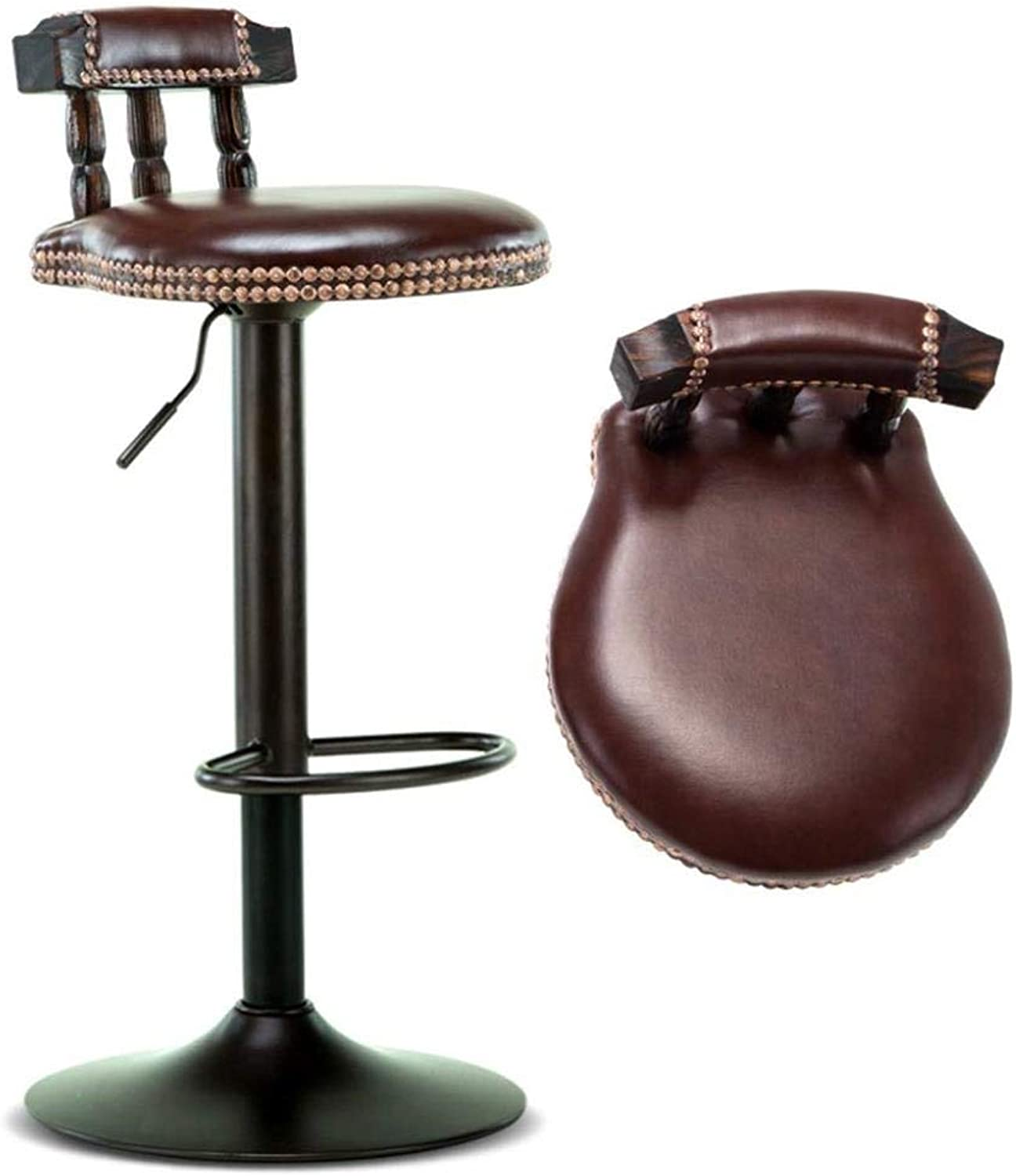 FENGFAN Bar Stool, Swivel Chair Cafe Seat, Jewelry Counter Chair, Copper Nail Trim - Leather Cotton Wood, Comfortable Sitting, Metal Base (color   Brown)