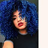 Short Kinky Curly Synthetic Hair Wigs for Black Women Andromeda Ombre Blue Afro Loose Kinky Curly Heat Resistant Fiber Hair Wig for African American Black Women(Blue)