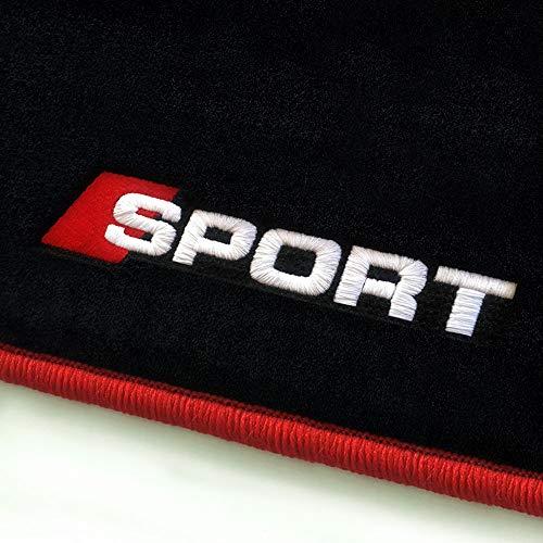 online-fussmatten Sport_13119 Fein-Velours Autoteppiche Stick Sport Stick- und Randfarbe Rot - Fahrzeugtyp in der Artikelbeschreibung beachten!