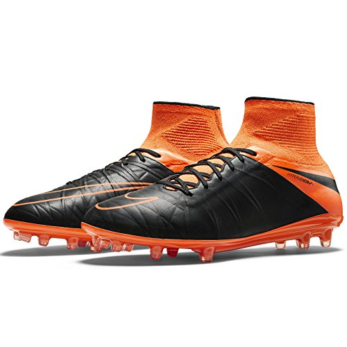 Nike Men's Hypervenom Phantom II LTHR FG Black/Black-TTL Orng-TTL Orng Shoes - 10