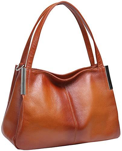 Heshe Women's Leather Handbags Top Handle Totes Bags Shoulder Handbag Satchel Designer Purse Cross Body Bag for Lady (sorrel)