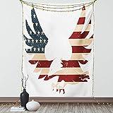 Lunarable Amerikanischer Wandteppich, Doppelgröße, patriotisches Motiv Home of Brave Land Free USA Bold Adler mit Flagge, Druck, Wandbehang, Tagesdecke, Wanddekoration, 172,7 x 223,5 cm, Weiß Blau