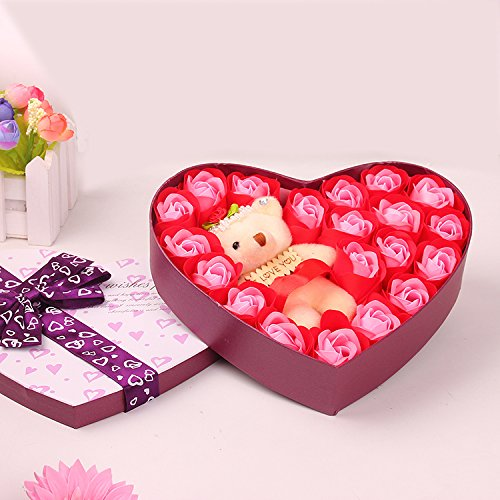 Menshow(メンズショウ) 薔薇 石鹸 プレゼント クマ付き お誕生日祝い ロマンチック お祝・お見舞い 手洗う クリスマス ギフト 母の日 父の日 昇進祝い 開所祝い 発表会 お歳暮 ハートギフトボックス付き taoxinhua-hong