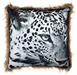 Brandsseller Tiermotiv Kissen mit Fellrand Dekokissen Kuschelkissen 45x45 cm Schneeleopard