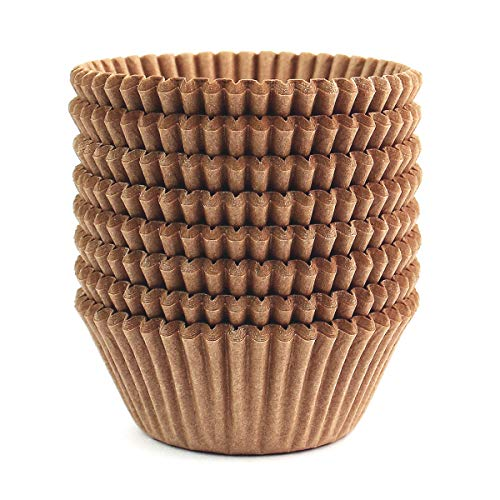Eoonfirst Standard Size Baking Cups Food-Grade Greaseproof Paper Cupcake Liners 200 Pcs (Natural)