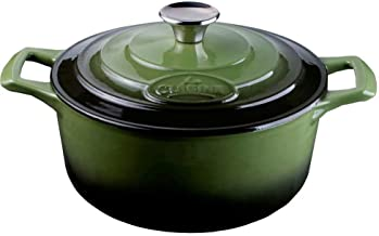 La Cuisine 4150MB 20 cm Dia Enameled Cast Iron Casserole– 2 Litre - Matte Black enamel coating finish Interior, 2-Tone Gre...