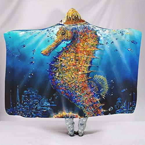 Zacht met capuchon deken aquarel zee paard fantasy Anime blauw onderwater kunstdruk sherpa gezellig winterdeken dutje